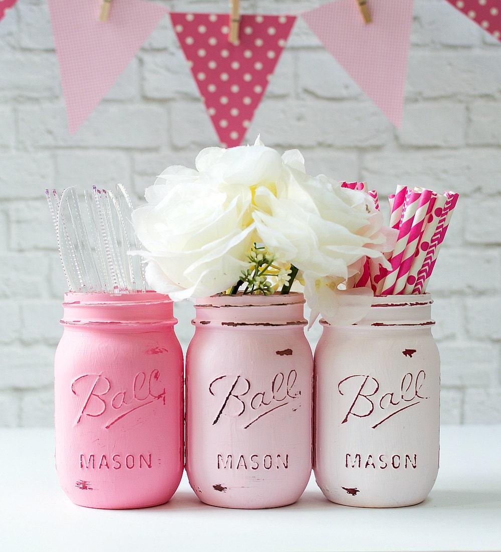 Mason jar vases pink ombre set of 3 zoom reviewsmspy