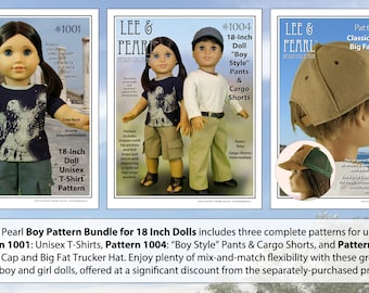 BOY PATTERN BUNDLE for 18 inch dolls, includes Patterns 1001 (T-Shirts), 1004 (Pants and Cargo Shorts) and 1008 (Ball Cap and Trucker Hat)