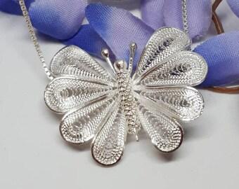 Butterfly Necklace, Butterfly Jewelry, Butterfly Pendant, Silver Butterfly Necklace, Filigree Butterfly Necklace, Silver Filigree Butterfly