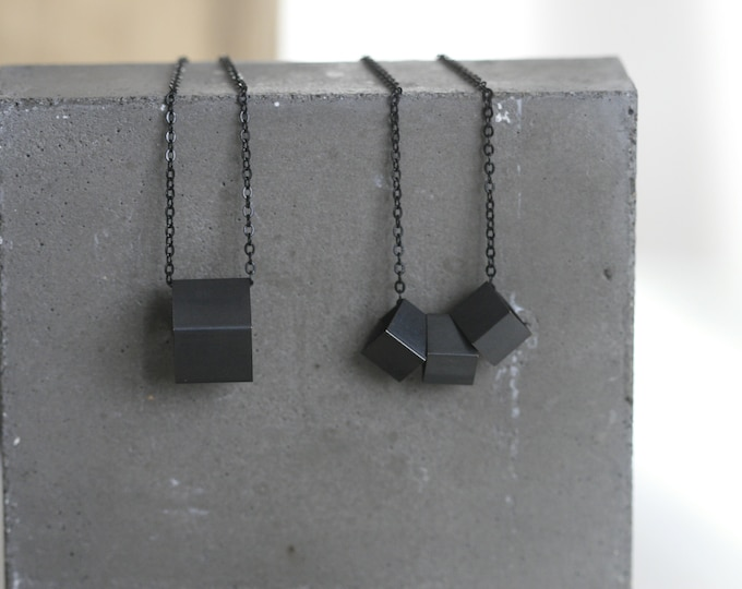 Black Cube Necklace | Minimalist | Geometric | Gift |