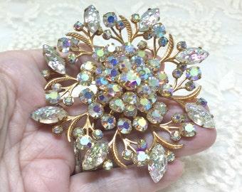 Vintage Large Aurora Borealis Rhinestone Flower Brooch Pin