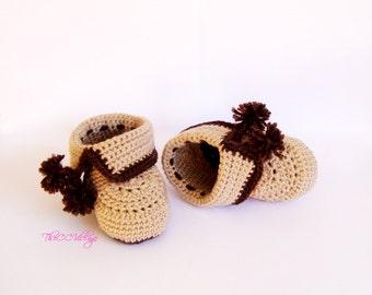 Brown, beige crochet baby booties, baby girls or boys booties fall