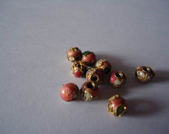 Set of 10 cloisonne beads 6mm pink