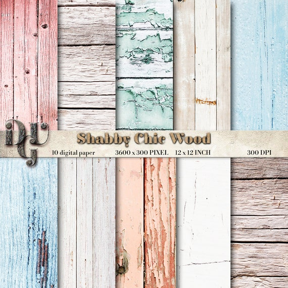 PASTEL SHABBY CHIC Wood Digital Paper Pastel Background White Texture Rustic Scrapbook N