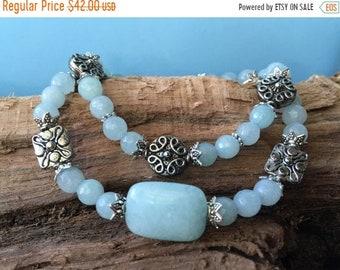 Mothers Day Sale Aqua Gemstone Bracelet Set, Beaded Bracelets, Stretch Bracelets, Boho Bracelets, Stacking Bracelets, Gift for Her, Elastic