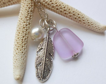 Light Purple Sea Glass Necklace, Beach Glass Necklace, Sea Glass Jewelry, Beach Glass Jewelery, Feather Charm Necklace, Free Shipping in US.