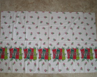 "Vintage Mid Century Merry Christmas NOEL Fabric-1950s 1960s Pine boughs Ribbons 35"" x 56"""