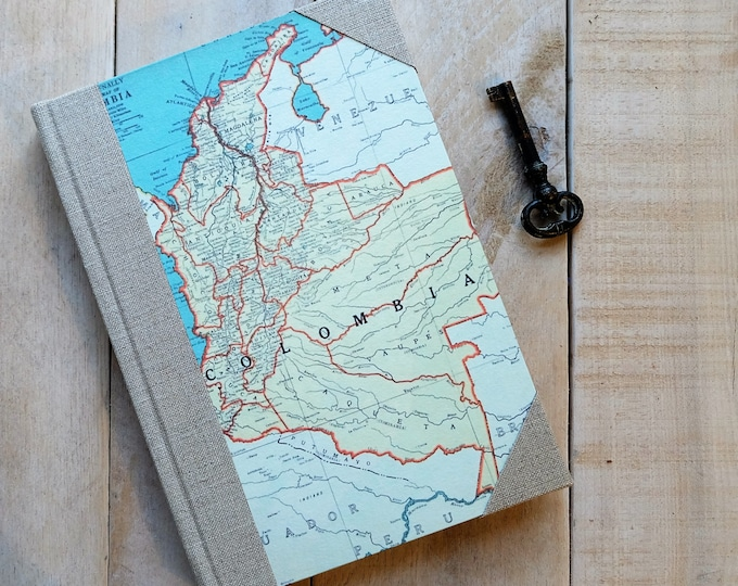 Travel Sketchbook or Journal with Choice of Custom Maps