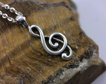 Sterling silver music necklace, silver clef necklace, double clef pendant , silver jewelry, musical necklace, music teacher gift