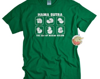 Funny Bacon T-Shirt Kama Sutra Parody Man Woman Geek TShirt Gifts Dad T-Shirt T Shirt Tee Shirt Father Mens Ladies Womens Bacon Lover