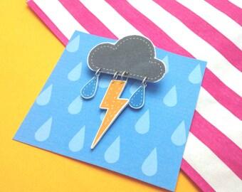 Cute Thunder Cloud Brooch with Rain Drops