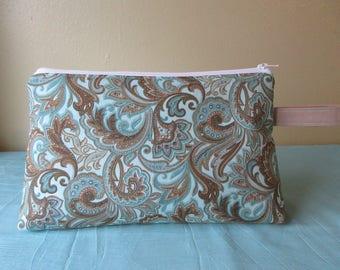 Medium Project Bag- Brown & Aqua Paisley