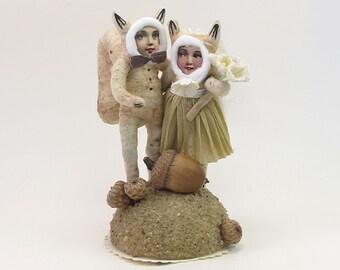 Vintage Style Spun Cotton Squirrel Wedding Topper (MADE TO ORDER)
