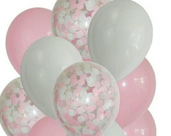 Pretty in Pink, Confetti Balloons with Pink and White confetti, mix of Pink & White Balloons, First Birthday, Baby Shower, any occasion.
