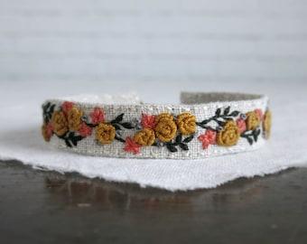 Mustard Rose Bracelet, Embroidery Cuff, Floral Bracelet, Flower Bracelet, Textile Art Cuff