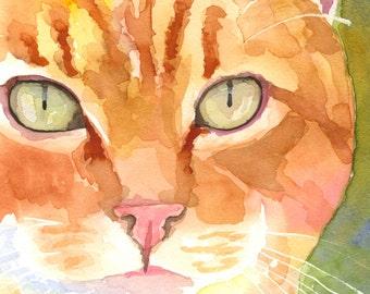 Tabby Cat Art Print of Original Watercolor Painting - 8x10 Cat Art