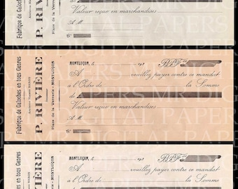 Paper Ephemera / French Paper / Lot of 3 / Antique Paper / Digital Instant Download / French Receipt / Victorian Paper  / Collage Ephemera