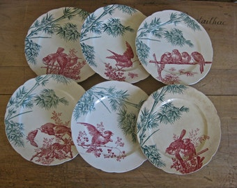 Antique French transferware plates by Longwy - oiseaux birds pattern - set of 6 red and green plates dated 1880s