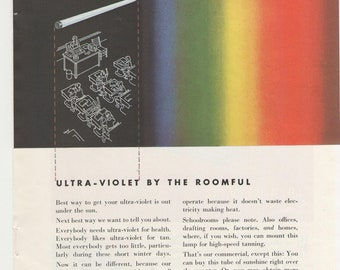 1950 Advertisements Westinghouse and Remington  50s Technology Ultra Violet Test Pattern Rainbow ROYGBIV Wall Art Decor