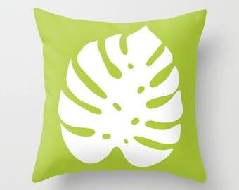 Monstera Leaf Pillow Cover - Modern Leaf Pillow Cover - Philodendron Leaf Pillow Cover - Green Decor - Modern Home Decor - By Aldari Home
