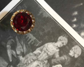 Regal 22K Gold Plated Blood Red Jewel Antique Button Baroque Dracula Vampire Medallion Ring with Pearls and Crystals Adjustable