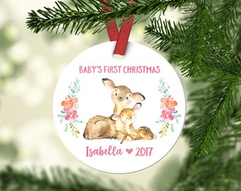 Baby Girl Christmas Ornament Babys First Christmas Ornament Personalized Babys First Christmas Ornament Girl Baby Christmas Ornament Cute