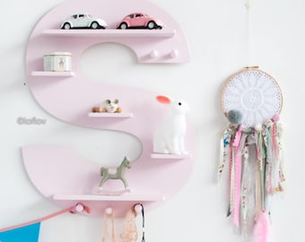 Light pink wooden letter shelf room wall decoration kids interior design plywood