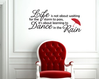 Dance in the Rain wall word quote with umbrella graphic - decorative vinyl wall art decal or removable home decor sticker -004