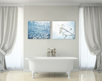 Coastal Beach Decor, Blue and White Wall Art, Set of TWO Prints or Canvases, Light Blue Beach Prints, Coastal Decor, Coastal Canvas Set