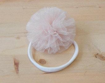 Blush Pink Headband, Pink Tulle Flower Headband, Pink Headband, Baby Headband, Tulle Headband, Headband