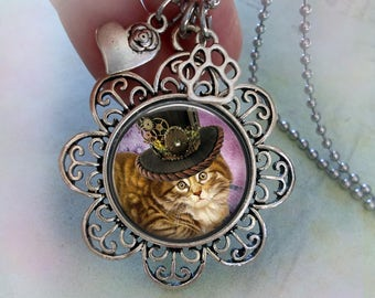 Tortiseshell Tabby Steampunk Necklace w-Heart and Paw Charms, Cat Lover Gift, Steampunk Gift, Tabby Cat Necklace, Women's Gift, Teens Gift