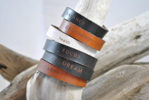WORDS | THIN | women's cuff | Leather Bracelet | Leather Cuff | Inspirational Words Bracelet | Gift | Leather Jewelry