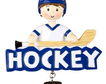 Hockey Ornament  Boys Hockey Gift  Hockey Player  Personalized Christmas Ornament