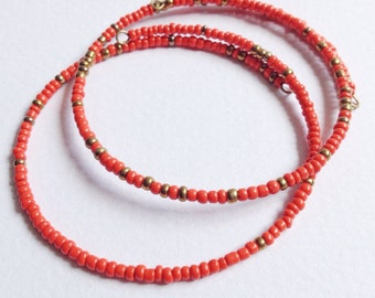 Set of 2 Eco Friendly Red & Gold Minimalist Friendship Bracelets
