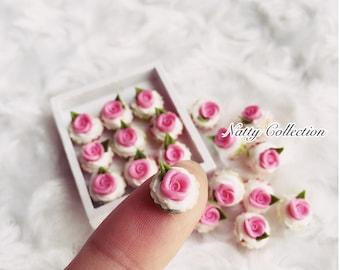 Miniature Pink Rose Cupcake,Miniature cake,Miniature cupcakes,miniature sweet,miniature bakery,Dolls house,Dollhouse food,miniature cake