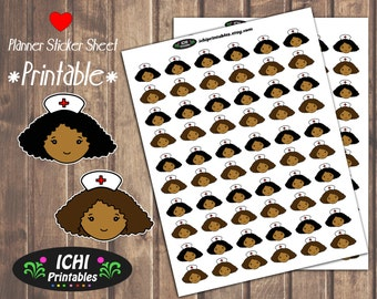 Cute Nurse Printable Planner Stickers, Doctor Appointment Sticker, Black Girl, African American, ECLP, Print & Cut, Functional Stickers