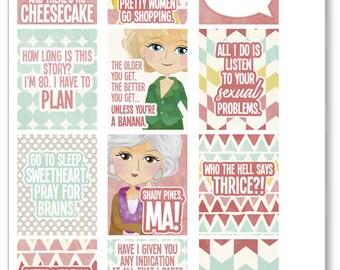 Golden Girls Full Boxes Planner Stickers for Erin Condren Planner, Filofax, Plum Paper