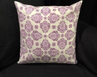 Elegant Purple Print Pillow Cover