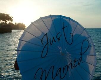 Wedding Parasol Custom Just Married Paper Parasol Beach Wedding Destination Umbrella White Ivory Ceremony Decoration Photo Prop