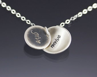 Give/Receive Necklace - Etched Sterling Silver Inspirational Jewelry