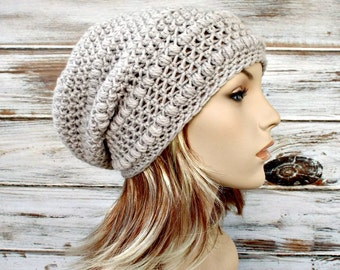 Instant Download Crochet Pattern - Hat Crochet Pattern - Womens Crochet Hat Pattern for Penelope Puff Stitch Beret and Slouchy Hat