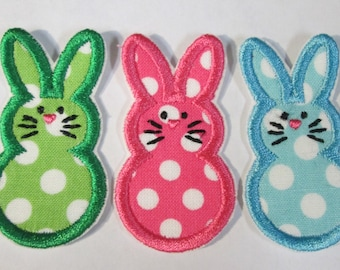 Ready To Ship FAST Trio of Bunnies - Iron On Embroidered Applique