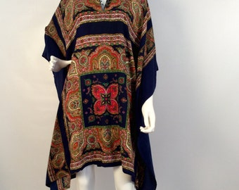 Vintage navy multi 70's kimono tunic, boho dress, hippie multi dress