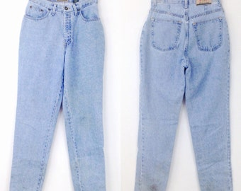 Vintage 80s Express high waisted jeans denim DAMAGED STAINED HOLES sz 9/10 B12