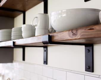 """Handcrafted Heavy Duty Steel Shelf Bracket With Lip / Modern Open Kitchen Shelving / Powder Coated Shelf Bracket/ 2"""" X 3/8"""" Flat Bar Metal"""