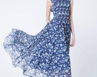 blue print dress, chiffon dress women, prom dress, flower printed dress, maxi dress, sleeveless dress, summer dress, party dress 1725