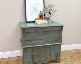 Antique Storage Cabinet - Primitive Cabinet - Bathroom Cupboard - Farmhouse Nightstand - Side Table with Storage - Small Storage Cabinet
