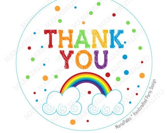 Rainbow Stickers, Thank you Printed Party Rainbow Round Stickers, tags, Labels or Envelope Seals  A1185