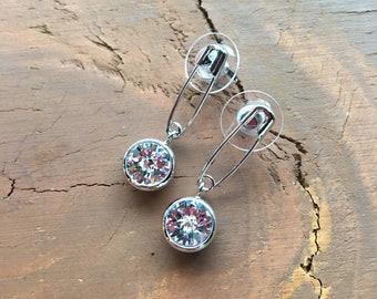 Safety Pin Dangling Earrings