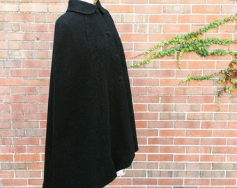 Vintage 60s Charcoal Gray Heather Black Cape  one size fits most